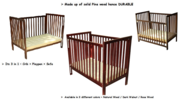 Dream N Play 3 in 1 Wooden Crib - Dark Walnut