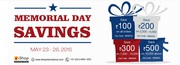 Memorial Day Offer on May 23 - 26,  Ishopinternational