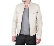 Stay stylish with Slim Fit Ivory Leather Jackets for Men