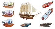 Retail Handmade Wooden Ship Sailing Vessel Model Wood Block Toys