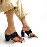 Buy Hailey Dark Blue Kolhapuri Heels for Women at PAIO Shoes