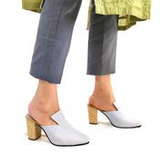 Buy Colt Light Grey Slip On Mule Heels for Women at PAIO Shoes