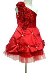 Kids One Shoulder Christmas Party Dress - Flower Girl Frocks