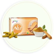 Get Natural Ingredients Sandal and Turmeric Soap by Godrej No 1.