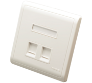 DIGISOL Face Plate,  Two Piece,  Dual Port,  Modular Straight Shuttered