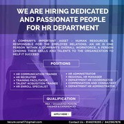 Looking for dedicated and passionate people for HR Department